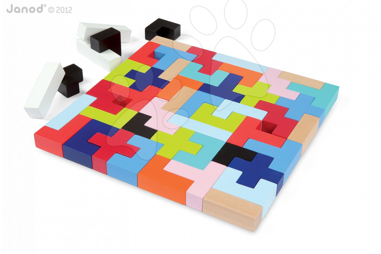Drevené kocky - Drevené kocky Kubix - 50 Geometrix Blocks Janod stavebnica 50 ks od 24 mes