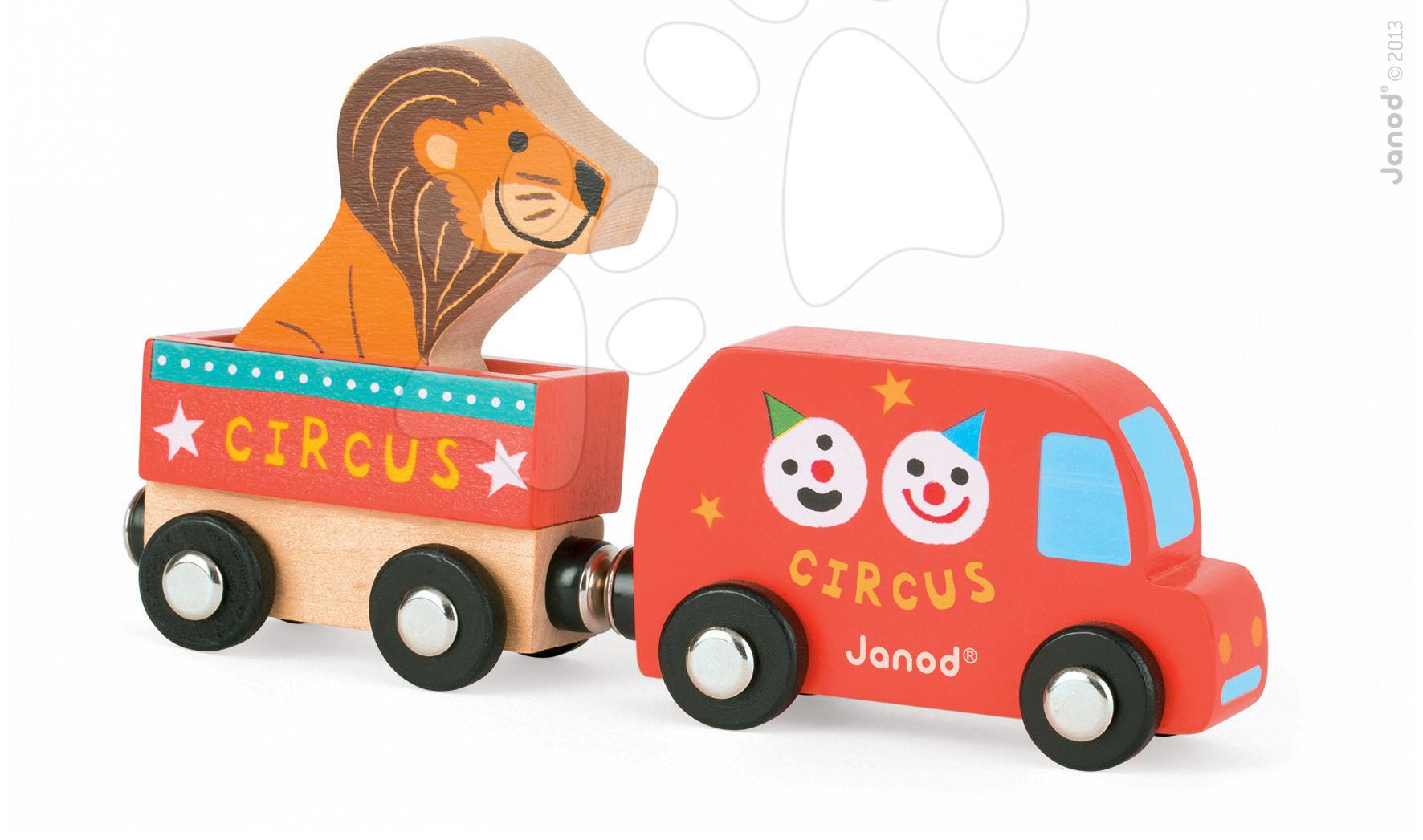 Dřevěné magnetické auto Cirkus Story Set Janod se lvem 3 dílky
