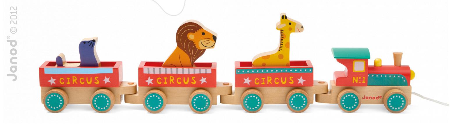 Dřevěný vláček Cirkus Story Set Janod s 3 zvířátky od 18 měsíců