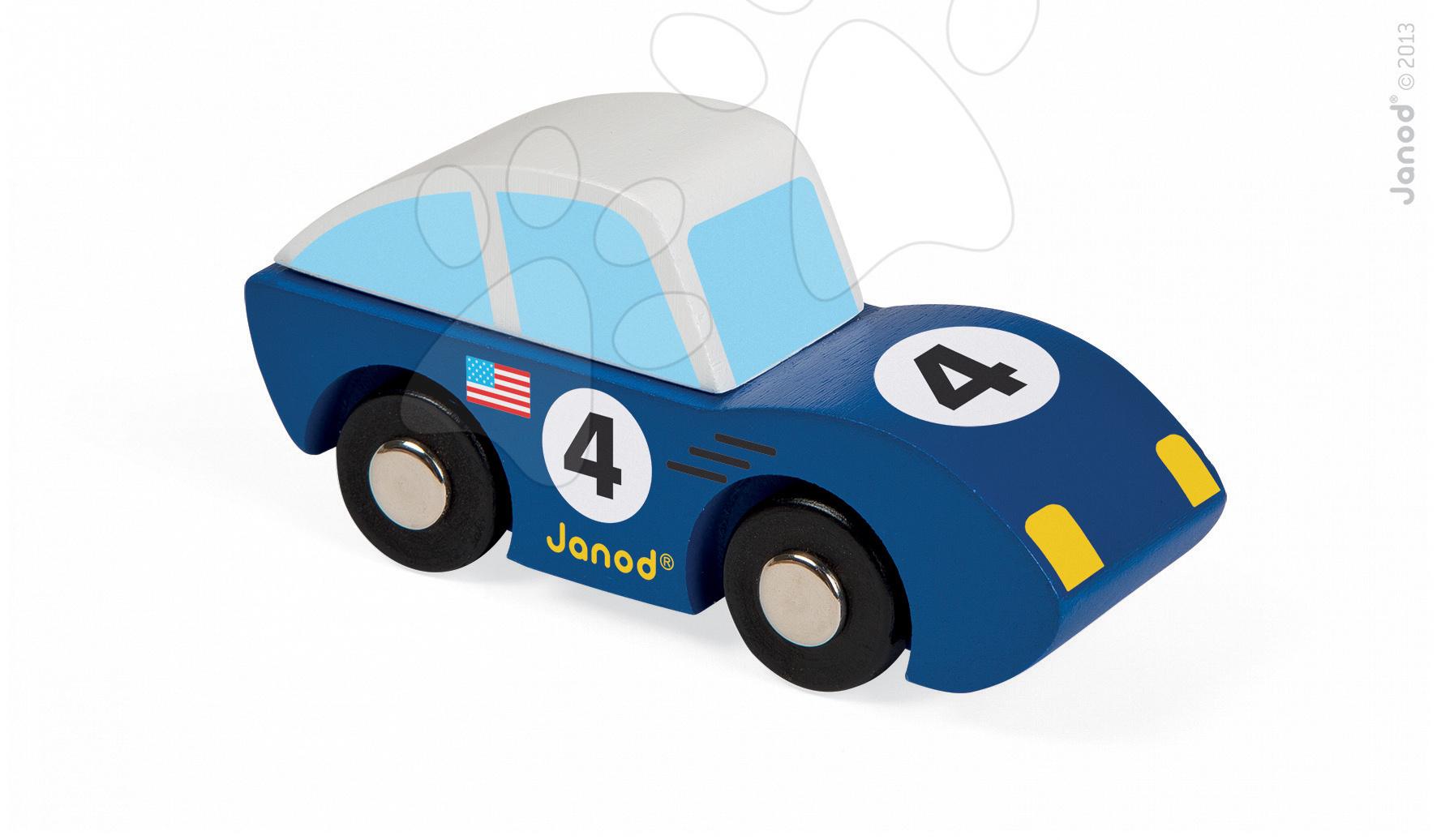 Autíčka - Drevené auto Roadster Story Racing Janod modré/zelené