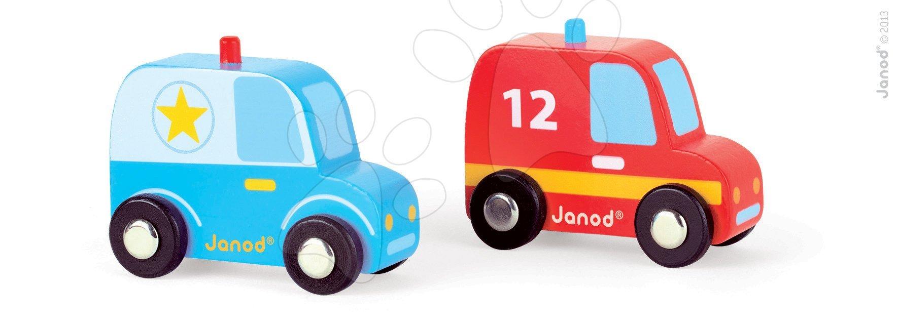 Sada 2 dřevěných autíček Story Set Janod policie a hasiči
