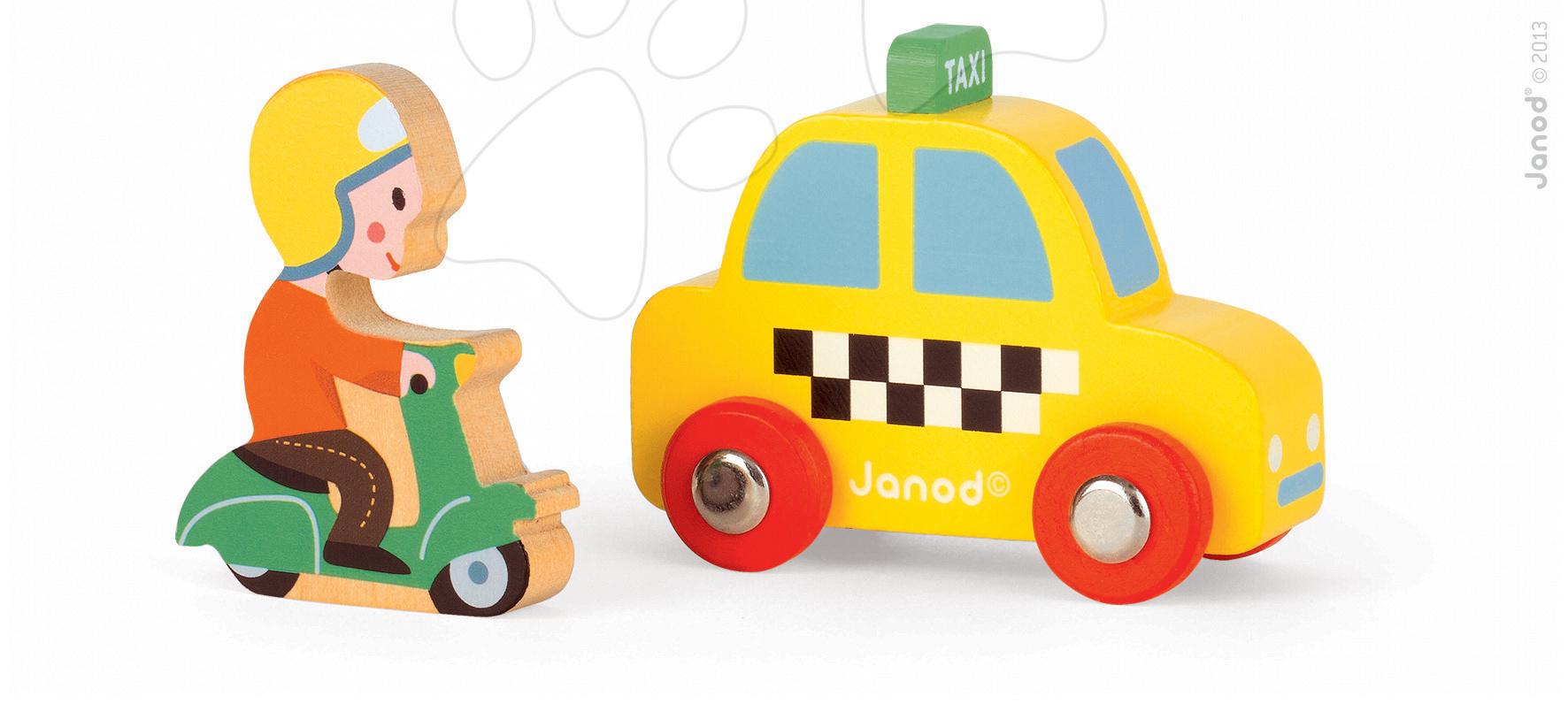 Garáže - Sada drevený taxík a motorka Story Set Janod