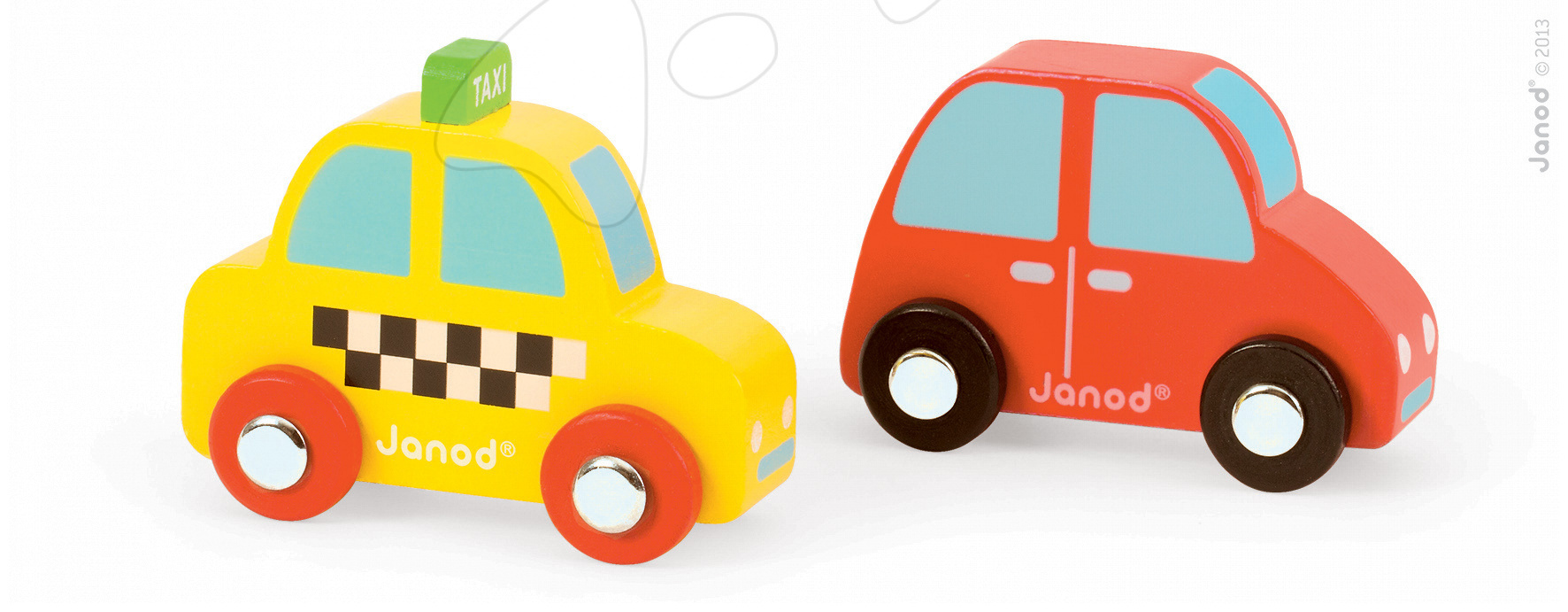 Garáže - Sada drevené auto a taxík Story Set Janod