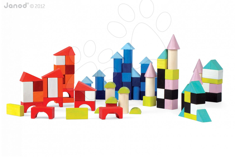 Drevené kocky - Drevené kocky Kubix - 100 Blocks Janod stavebnica 100 ks od 24 mes