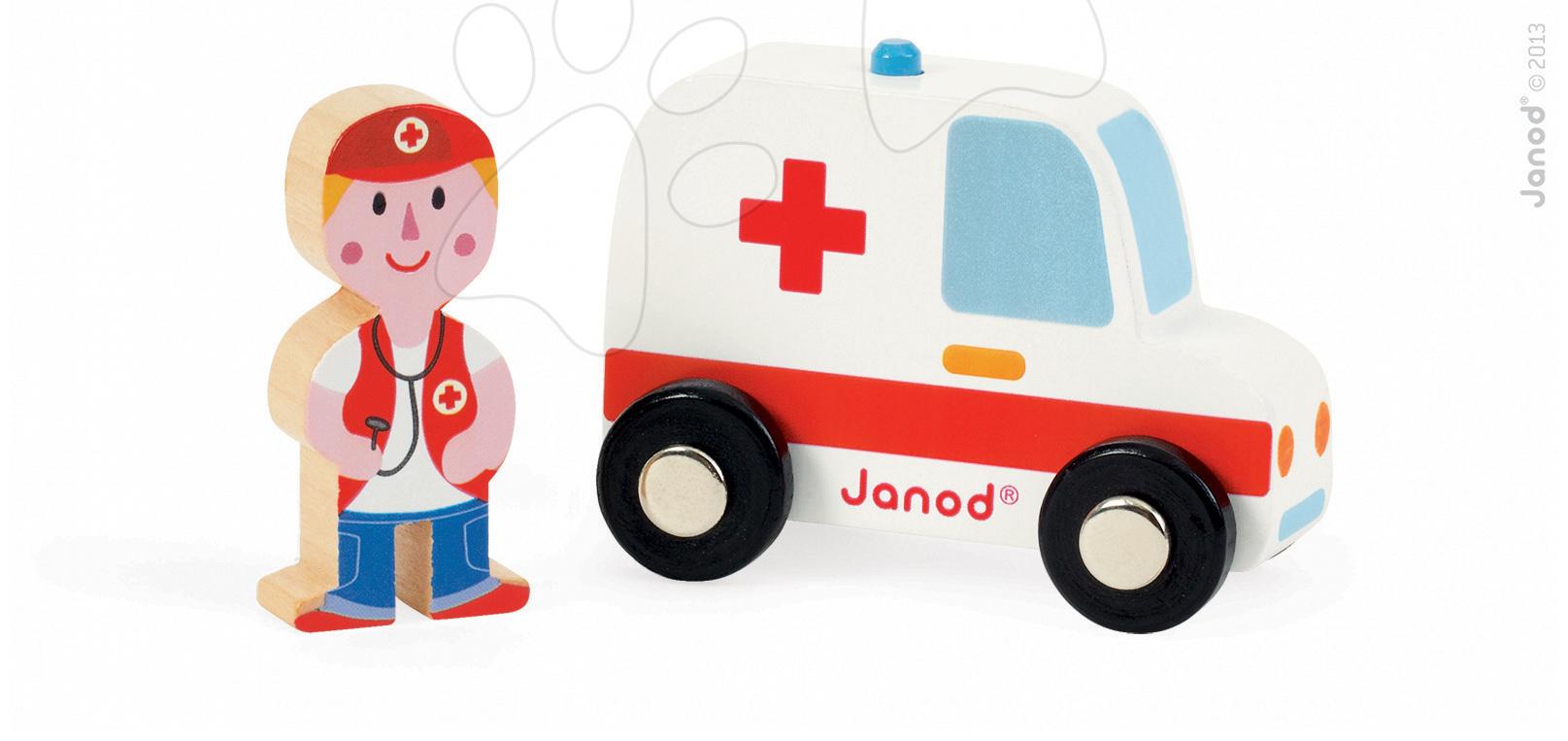 Garáže - Drevená sanitka Story Set Janod s lekárom 2 dieliky