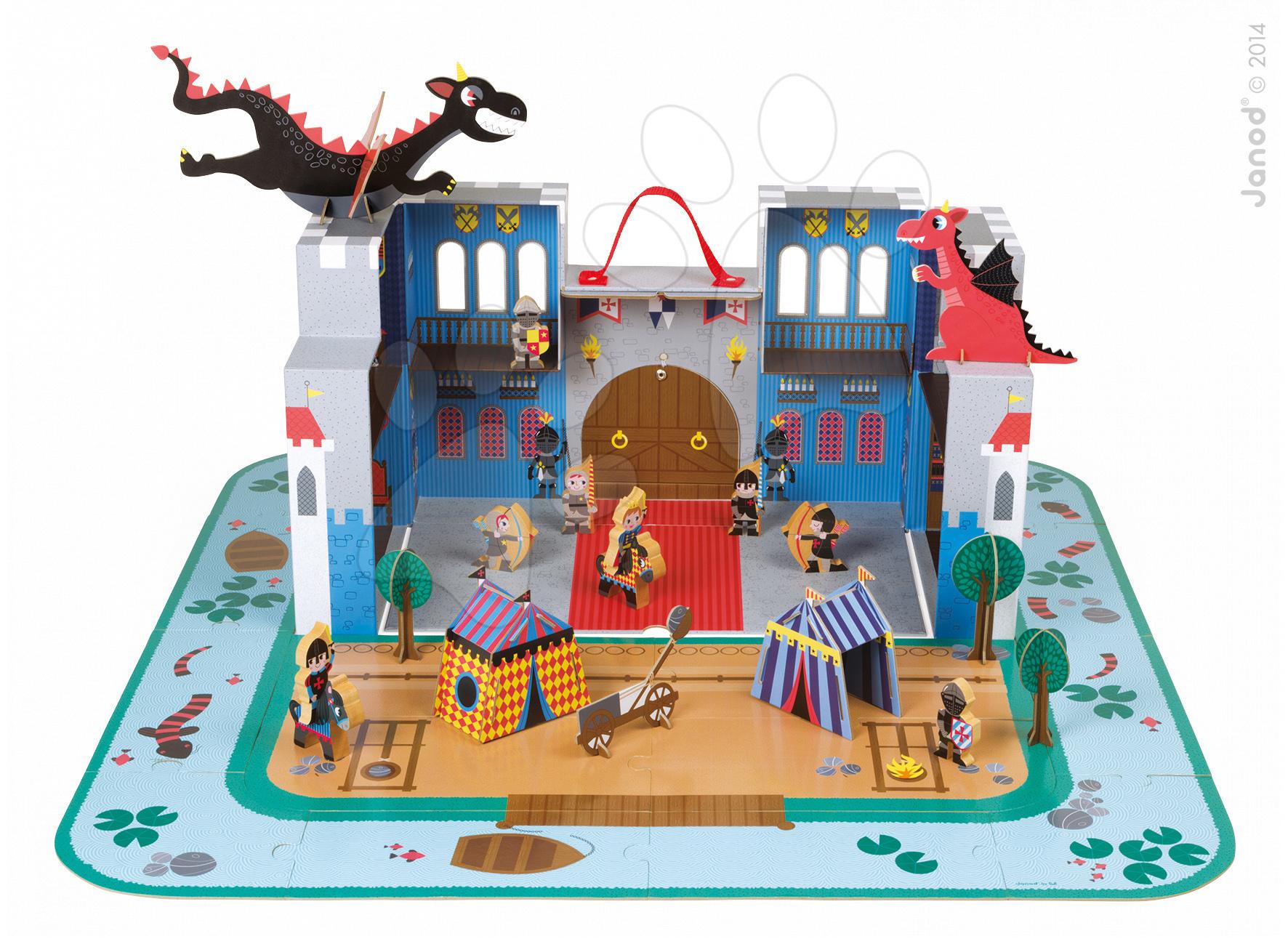 Stavebnice pro děti Rytířský hrad Cardboard Worlds Janod s 18 doplňky od 4 let