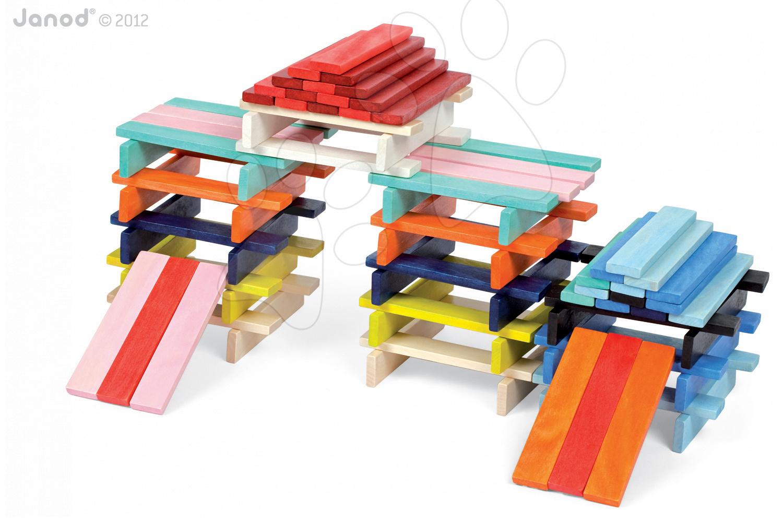 Drevené kocky - Drevené kocky Kubix - 100 Planks Janod stavebnica 100 ks od 24 mes
