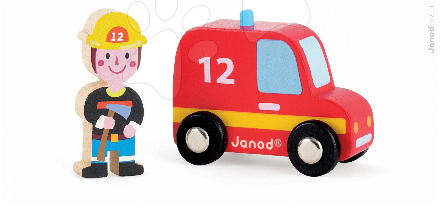 Dřevěné hasičské auto Story Set Janod s hasičem 2 dílky