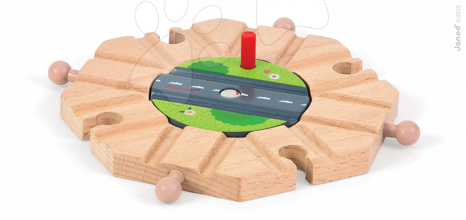 Autodráhy - Drevené koľajnice Story Set Janod s kruhovým objazdom
