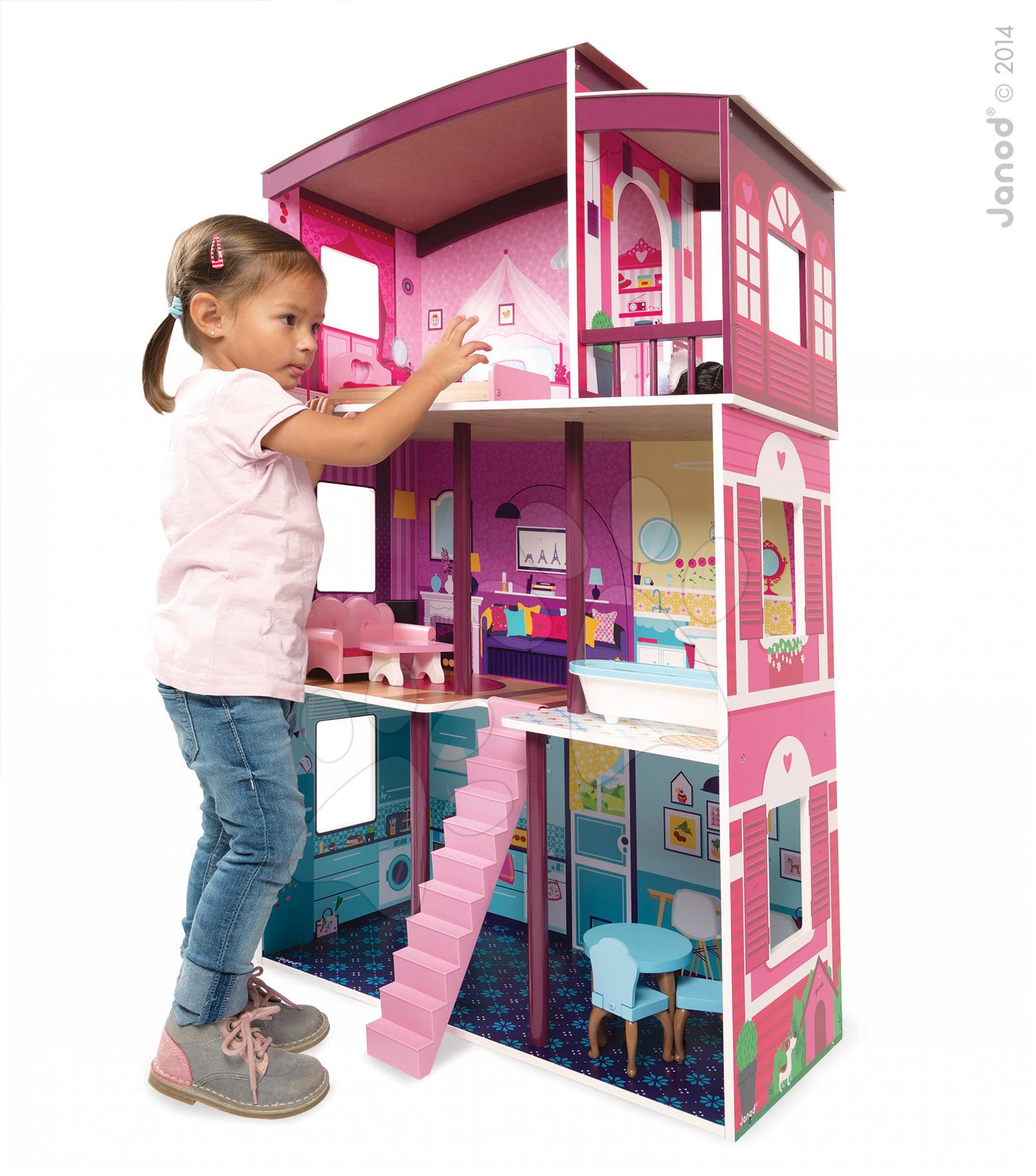 Domeček pro panenky Maxi Villa Janod 8 doplňků