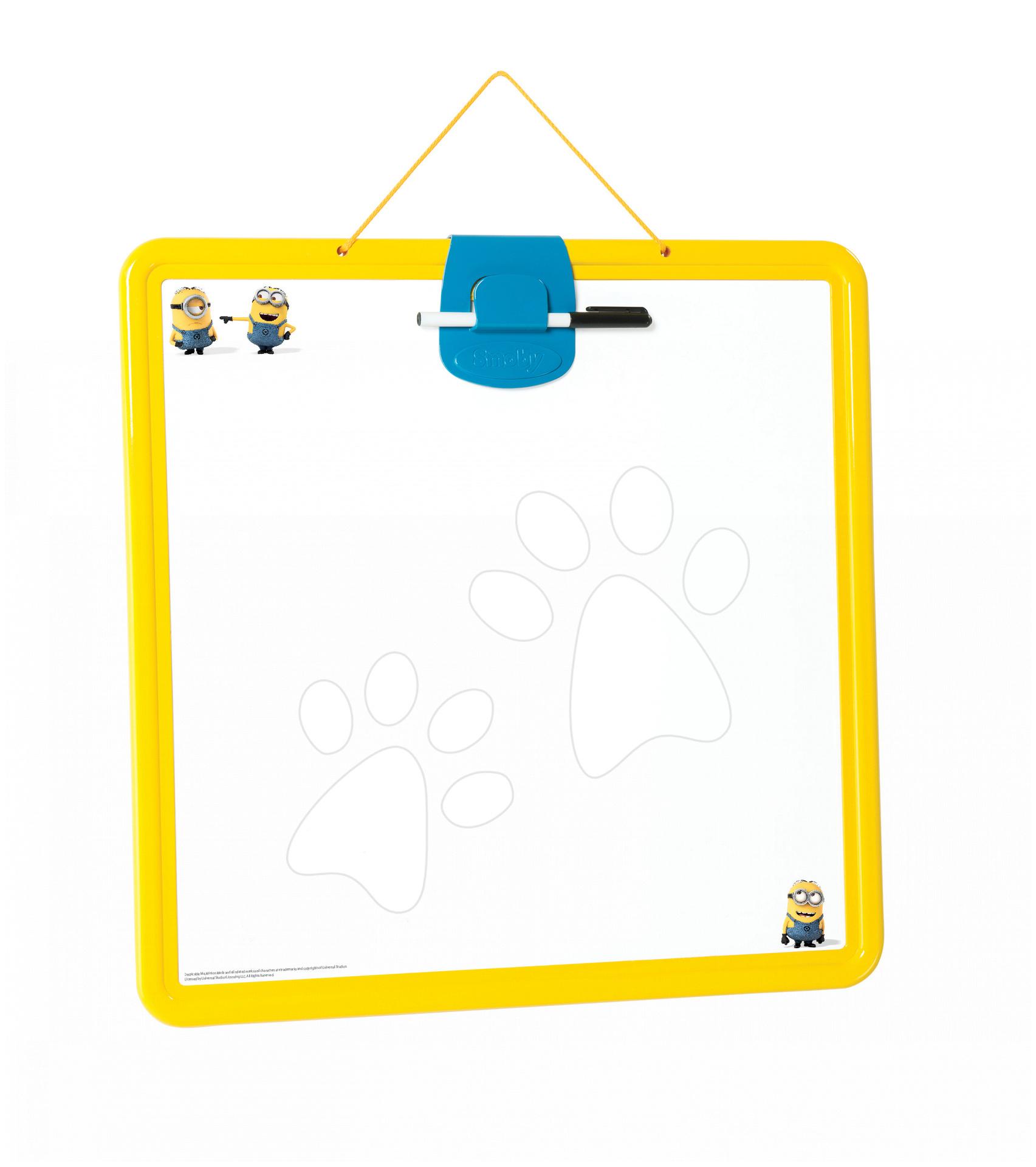 Školní magnetická tabule Mimoni Smoby oboustranná, na zavěšení s 10 doplňky žluto-modrá