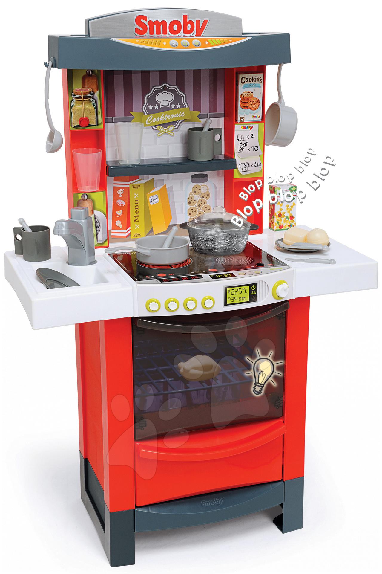 Elektronické kuchynky - Elektronická kuchynka Tefal Magic Bubble Cook'tronic Smoby s magickým bublaním so svetlom a zvukmi a 21 doplnkov