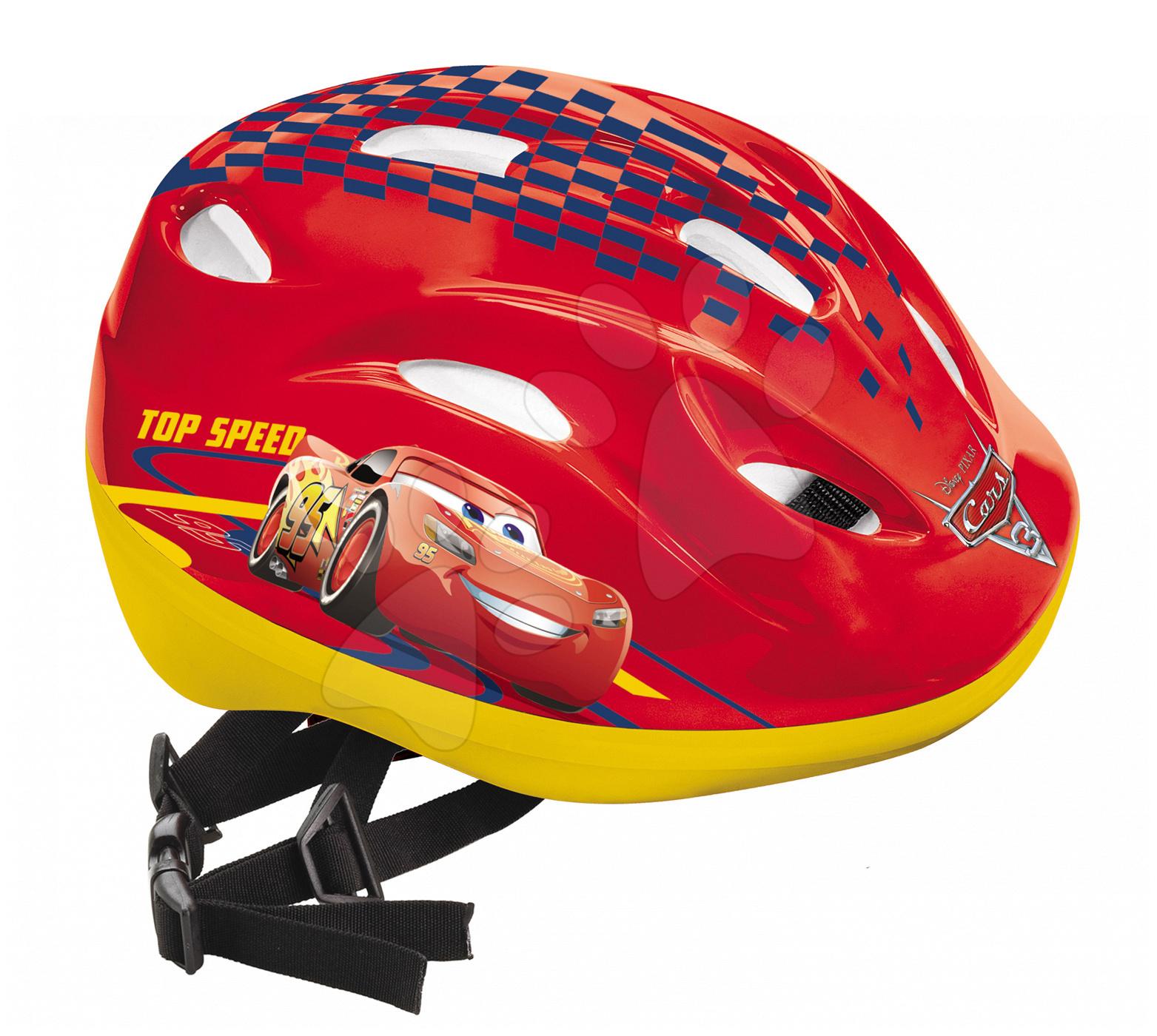 Detské prilby - Cyklistická prilba Autá Mondo veľkosť 52-56 červeno-žltá