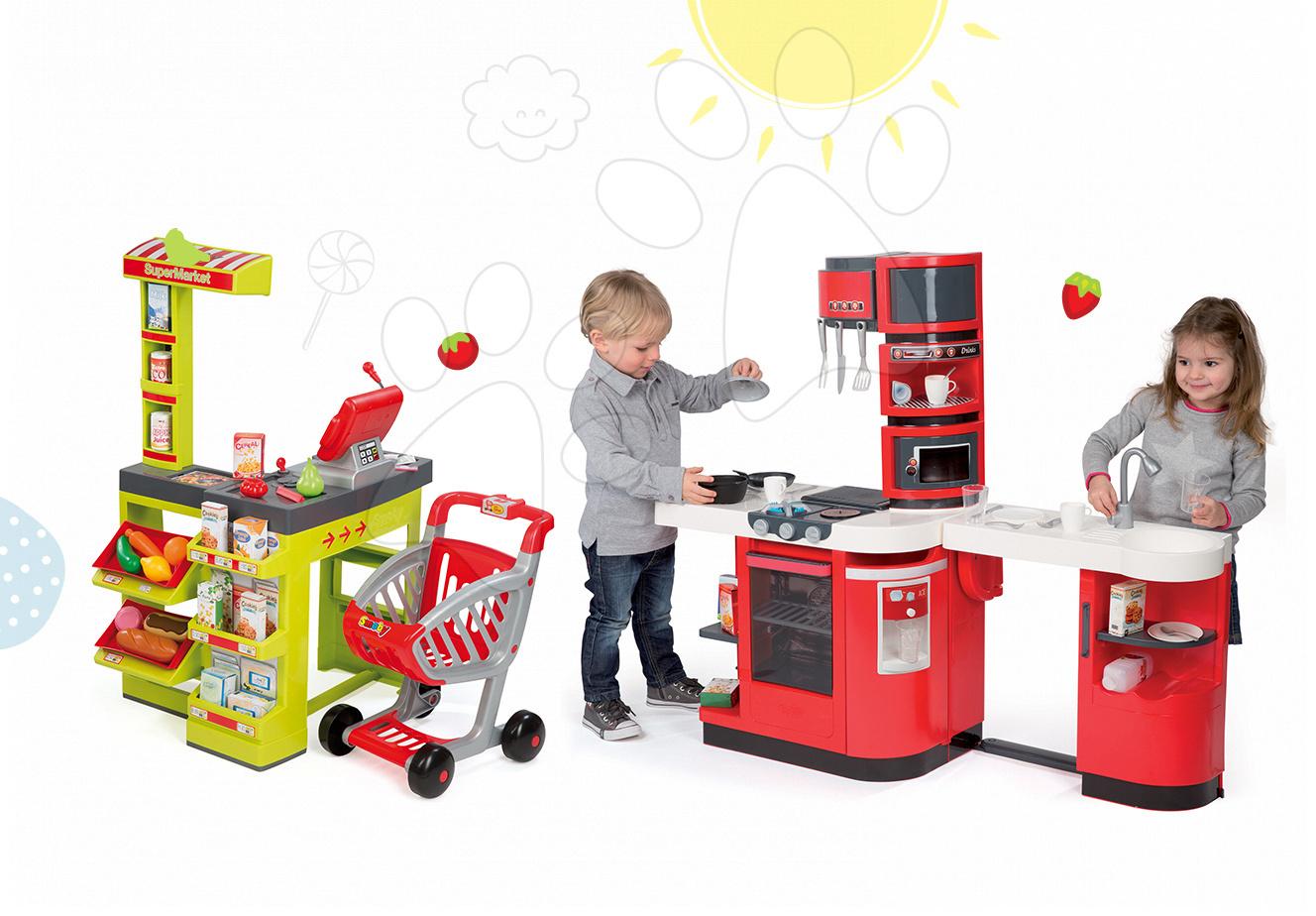 Kuchynky pre deti sety - Set kuchynka CookMaster Smoby so zvukmi a ľadom a obchod Supermarket s pokladňou