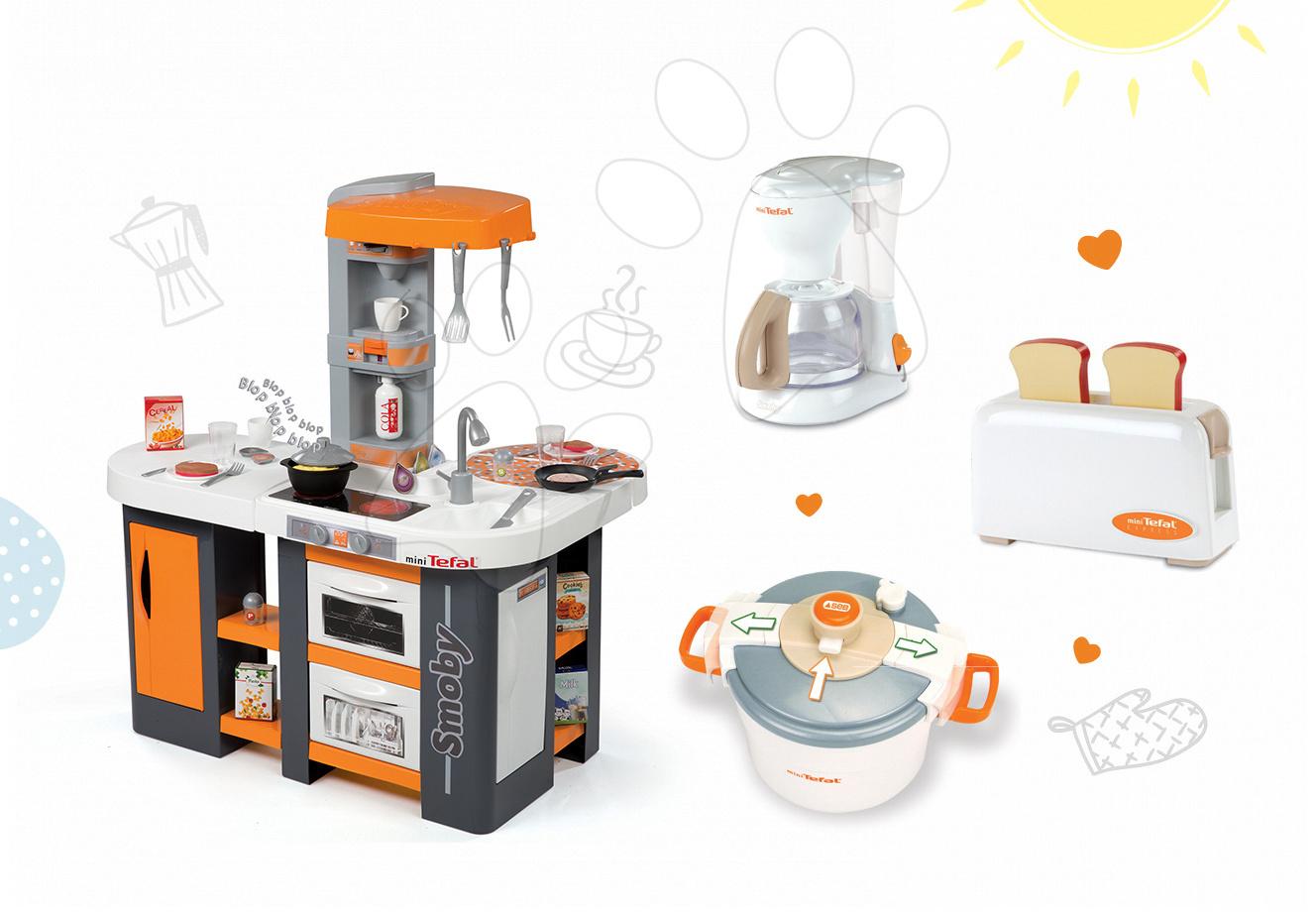 Set dětská kuchyňka Tefal Studio XL Smoby se zvuky a ledničkou a 3 kuchyňské spotřebiče Tefal