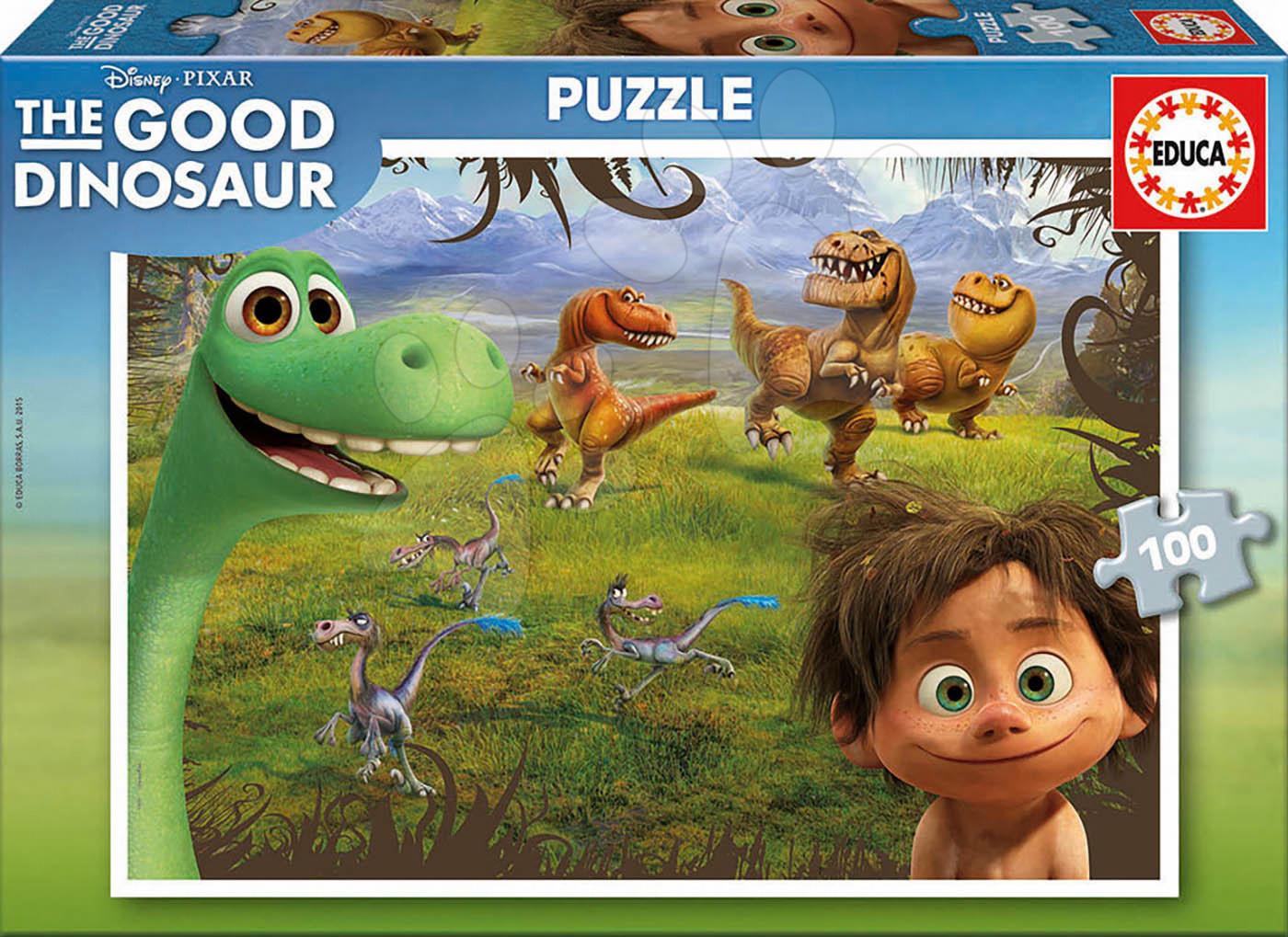 Detské puzzle od 100-300 dielov - Puzzle Dobrý dinosaurus Educa 100 dielov od 5 rokov