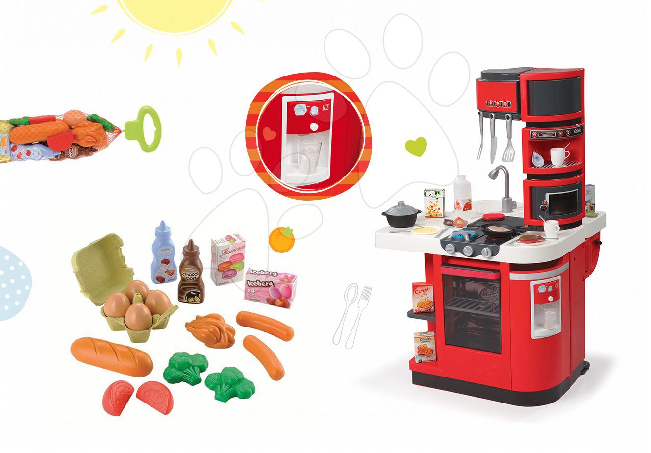 Set dětská kuchyňka CookMaster Smoby se zvuky a ledem a potraviny v síťce Bubble Cook