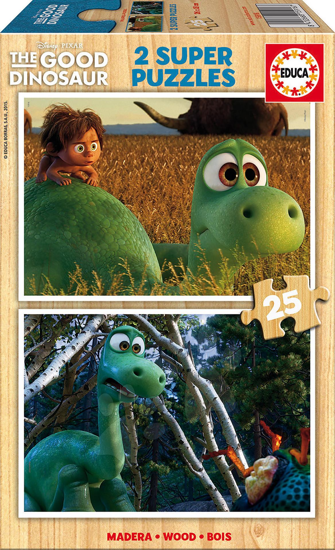 Drevené Disney puzzle - Drevené puzzle Dobrý dinosaurus Educa 2x 25 dielov