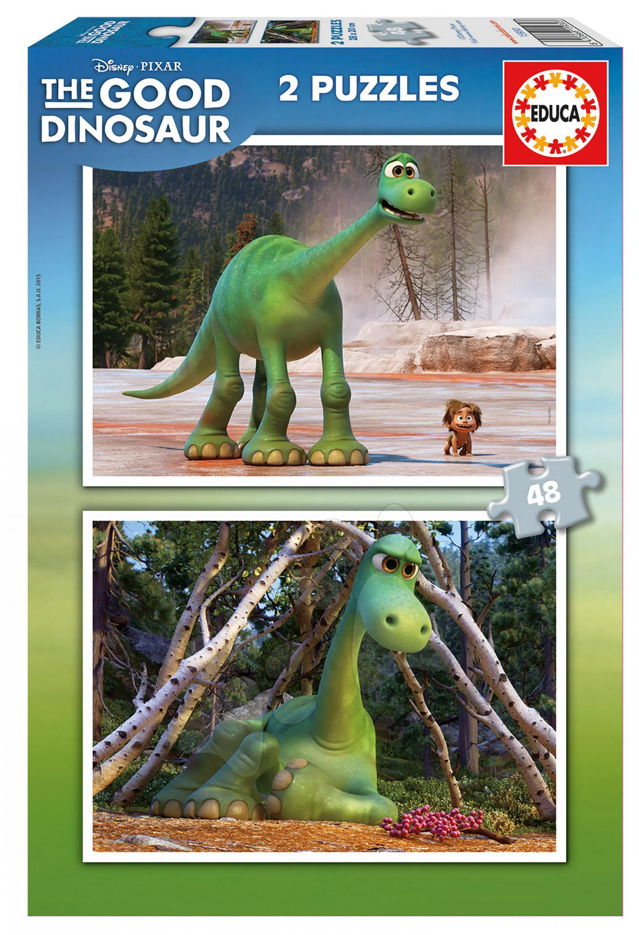 Detské puzzle do 100 dielov - Puzzle Dobrý dinosaurus Educa 2x 48 dielov