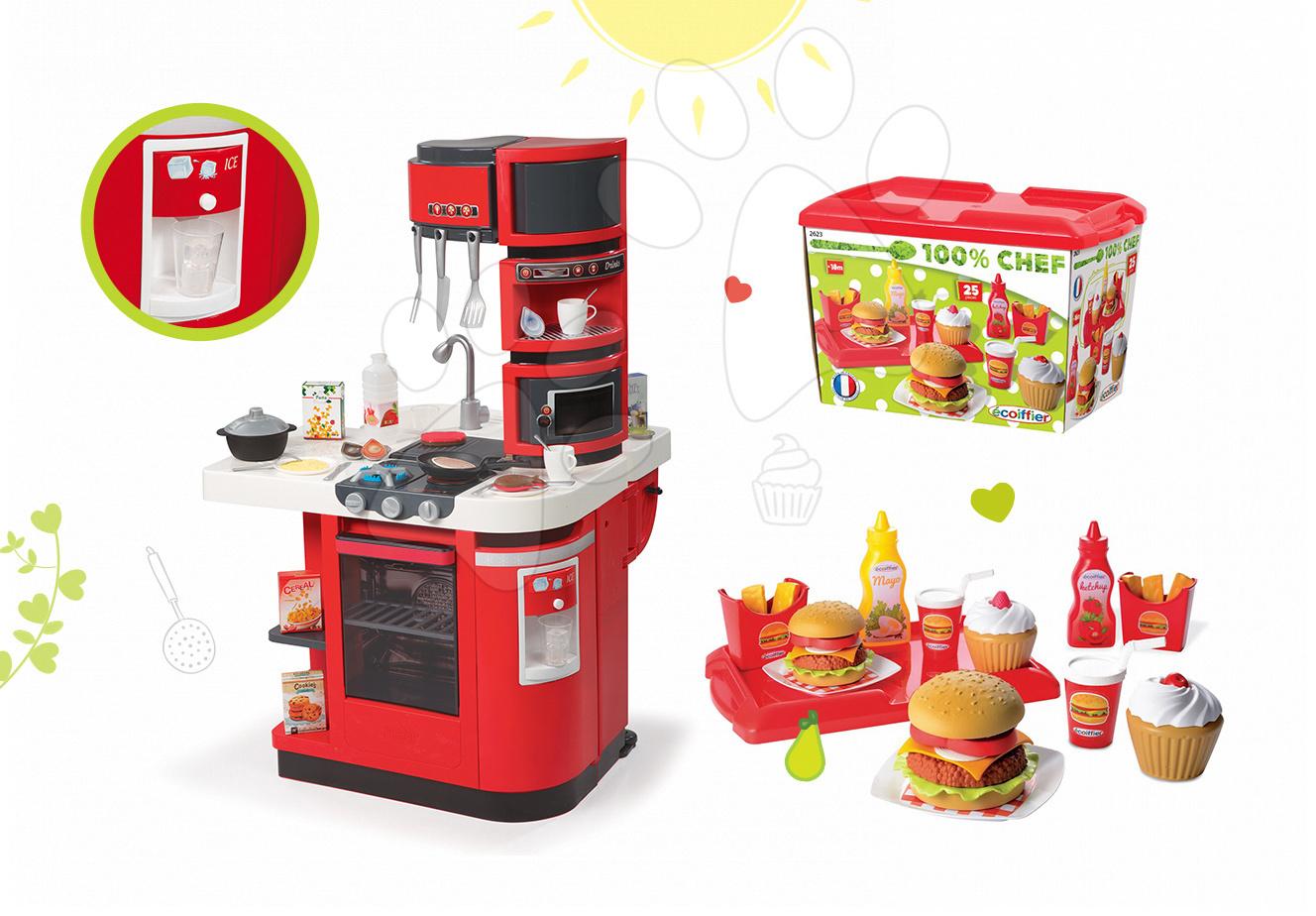 Kuchynky pre deti sety - Set kuchynka CookMaster Smoby so zvukmi a ľadom a set hamburgerov 100% Chef