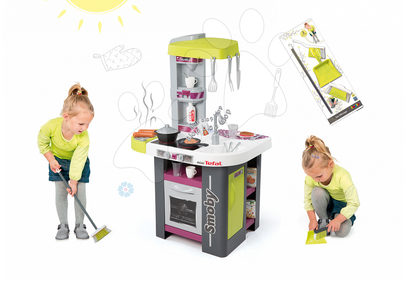 Kuchynky pre deti sety - Set kuchynka Tefal Studio Barbecue Smoby so zvukmi a grilom a upratovacie pomôcky 3v1