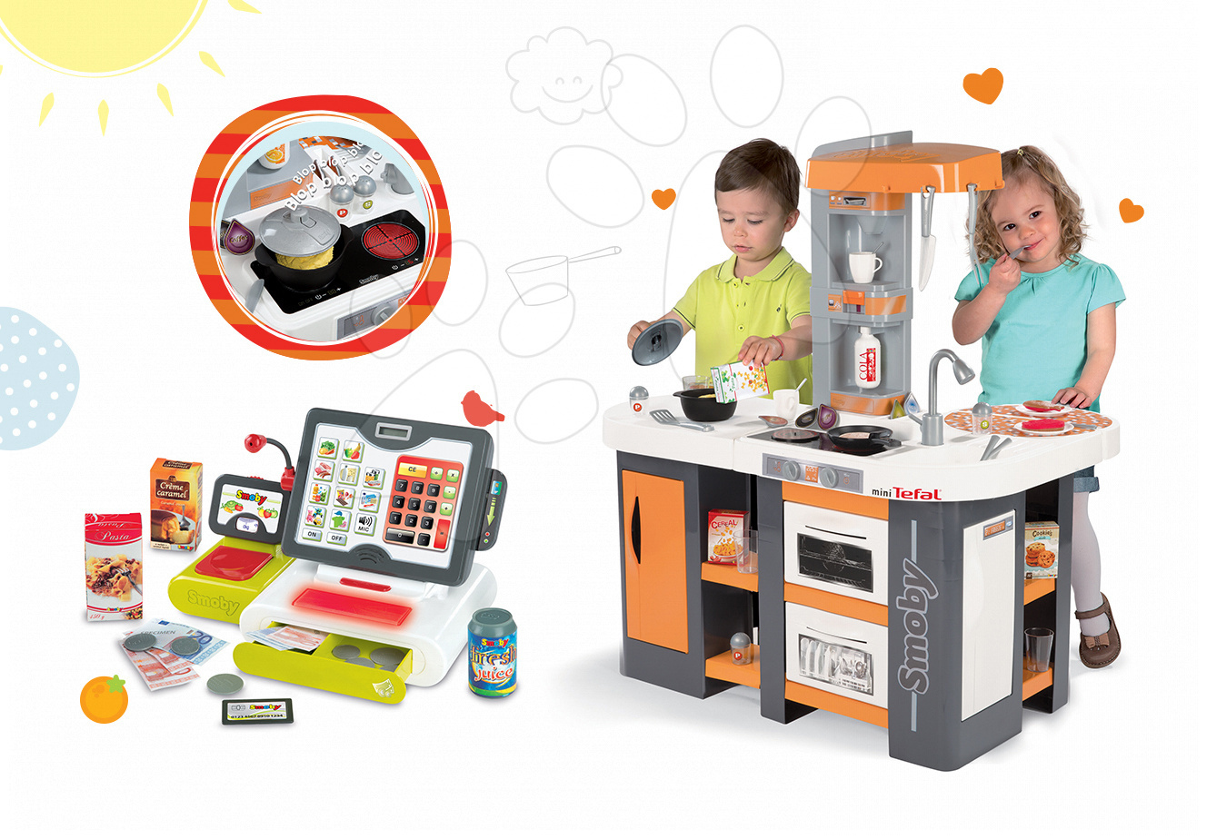Set kuchyňka pro děti Tefal Studio XL Smoby se zvuky a ledničkou a elektronická dotyková pokladna