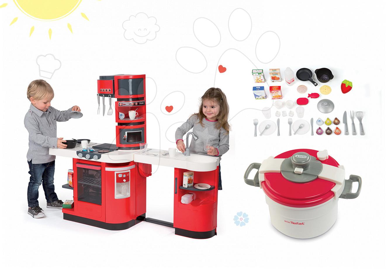 Kuchynky pre deti sety - Set kuchynka CookMaster Smoby so zvukmi a ľadom a tlakový hrniec Tefal Clipso