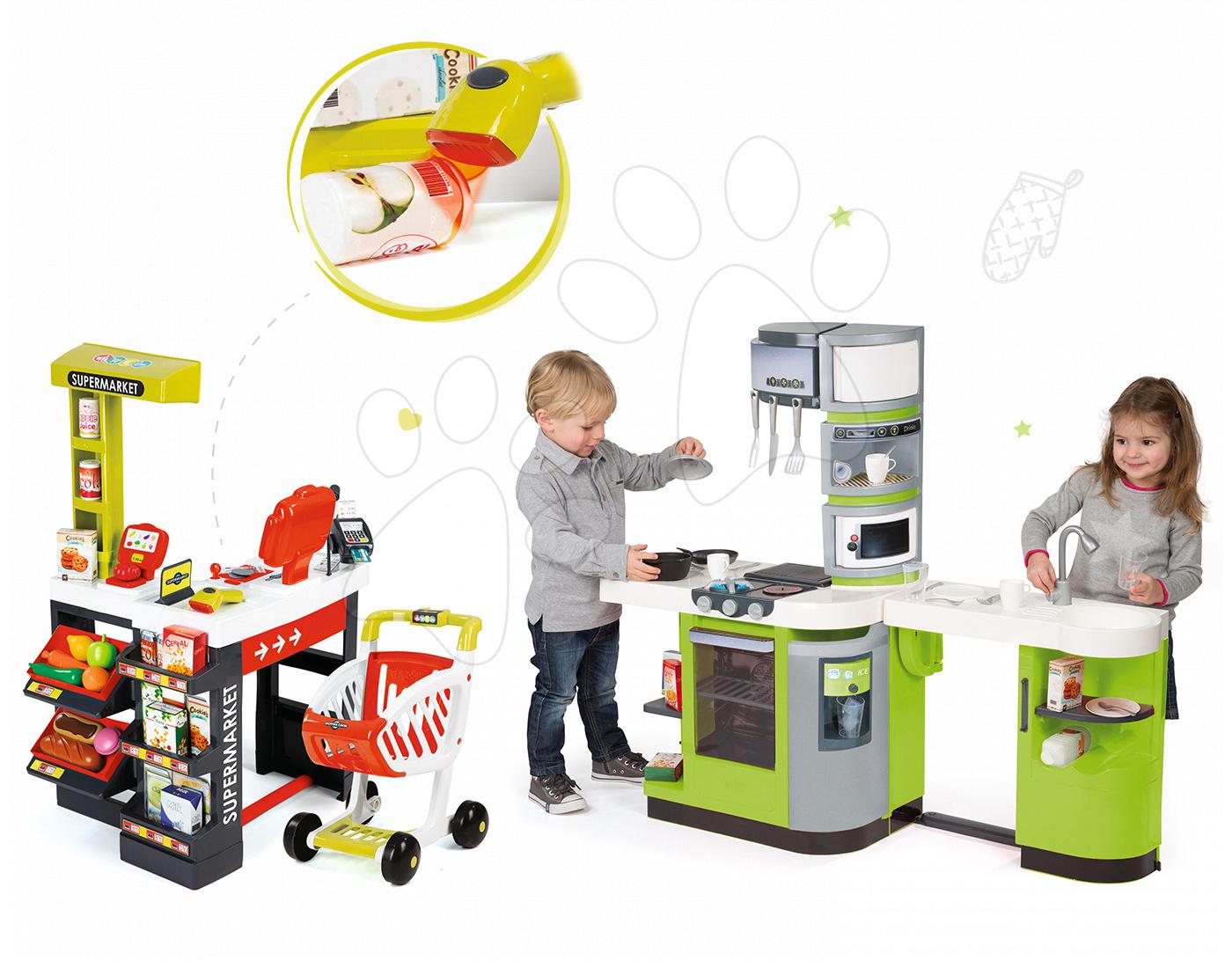 Smoby set kuchyňka CookMaster Verte a elektronický obchod Supermarket 311102-22c