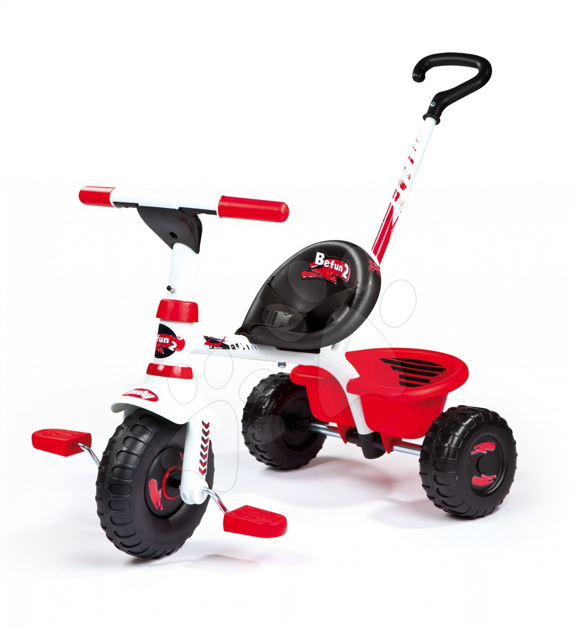 Staré položky - Tříkolka Be Fun sport line Smoby červeno-bílá s tyčí od 15 měsíců