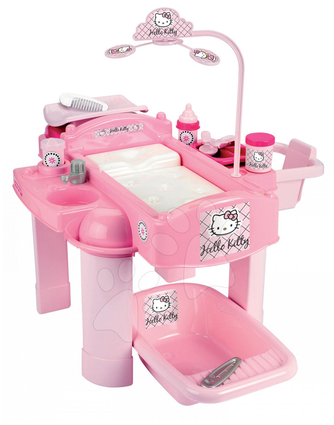 Přebalovací stolek Hello Kitty Écoiffier pro panenku s 22 doplňky od 18 měsíců