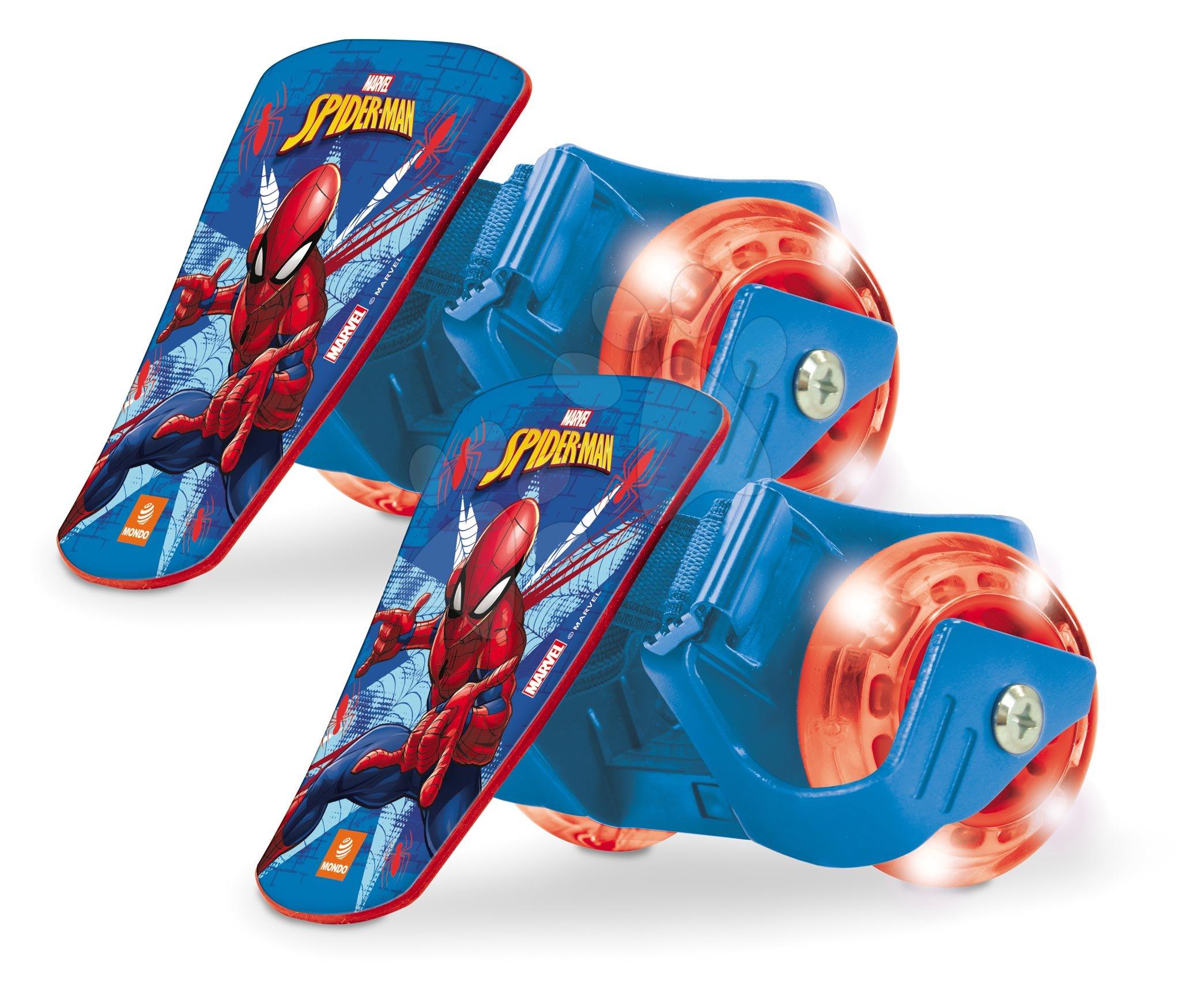 Dětské kolečkové brusle - Klip na boty s kolečky se světlem Spiderman Mondo ložiska 608ZZ, PVC kolečka 68 mm průměr od 5 let