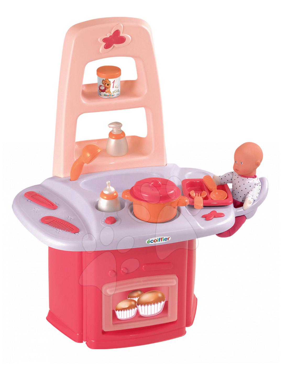 Domečky pro panenky - Přebalovací stolek Nursery Écoiffier pro panenku s kuchyňkou se 14 doplňky od 18 měsíců