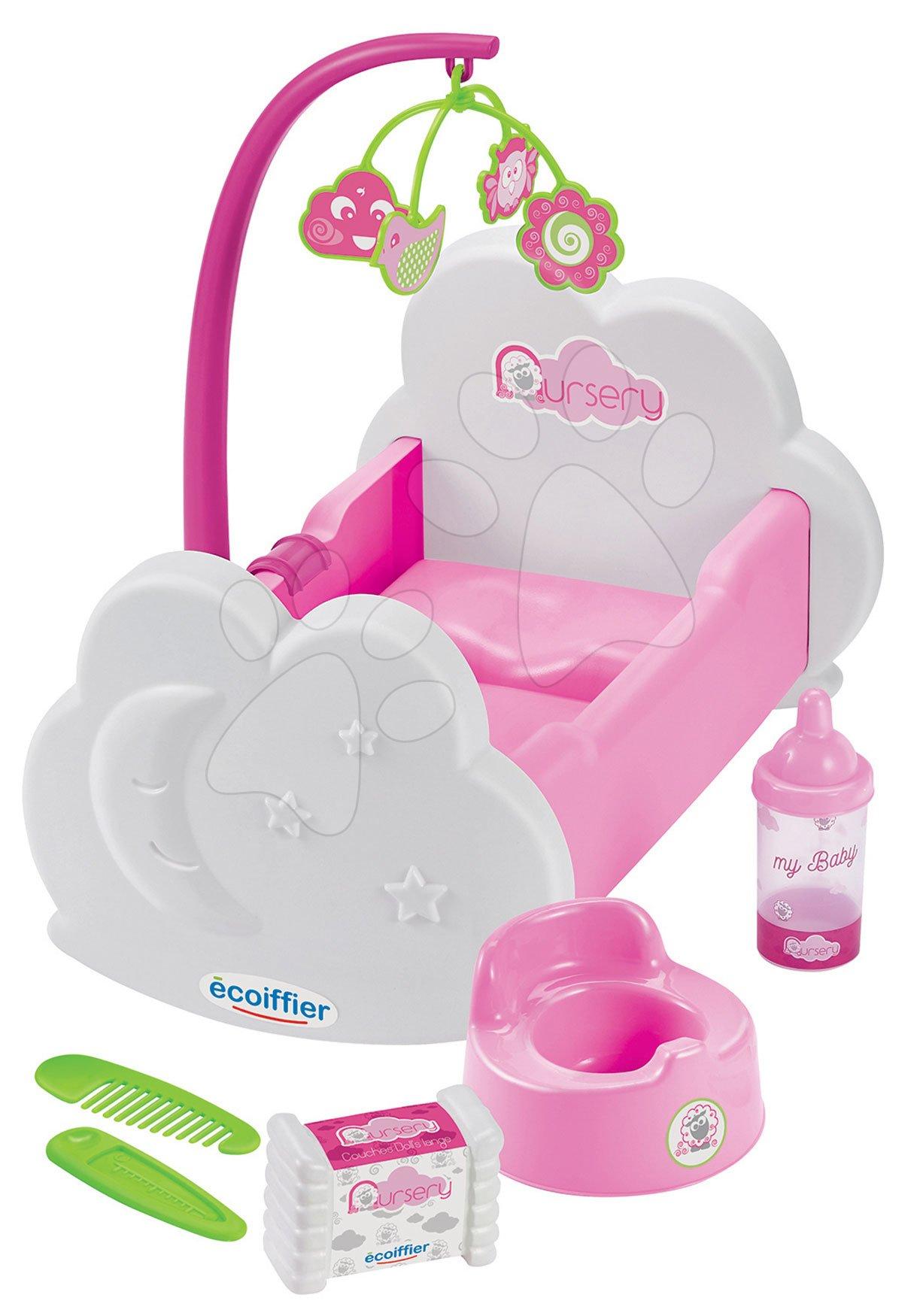 Pătuț de păpușă cu carusel Nursery Écoiffier cu oliță și accesorii de la 18 luni