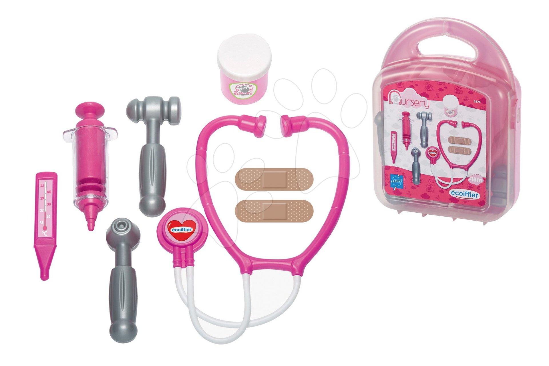 Lekársky kufrík pre bábiky Écoiffier s doplnkami ružový od 18 mes