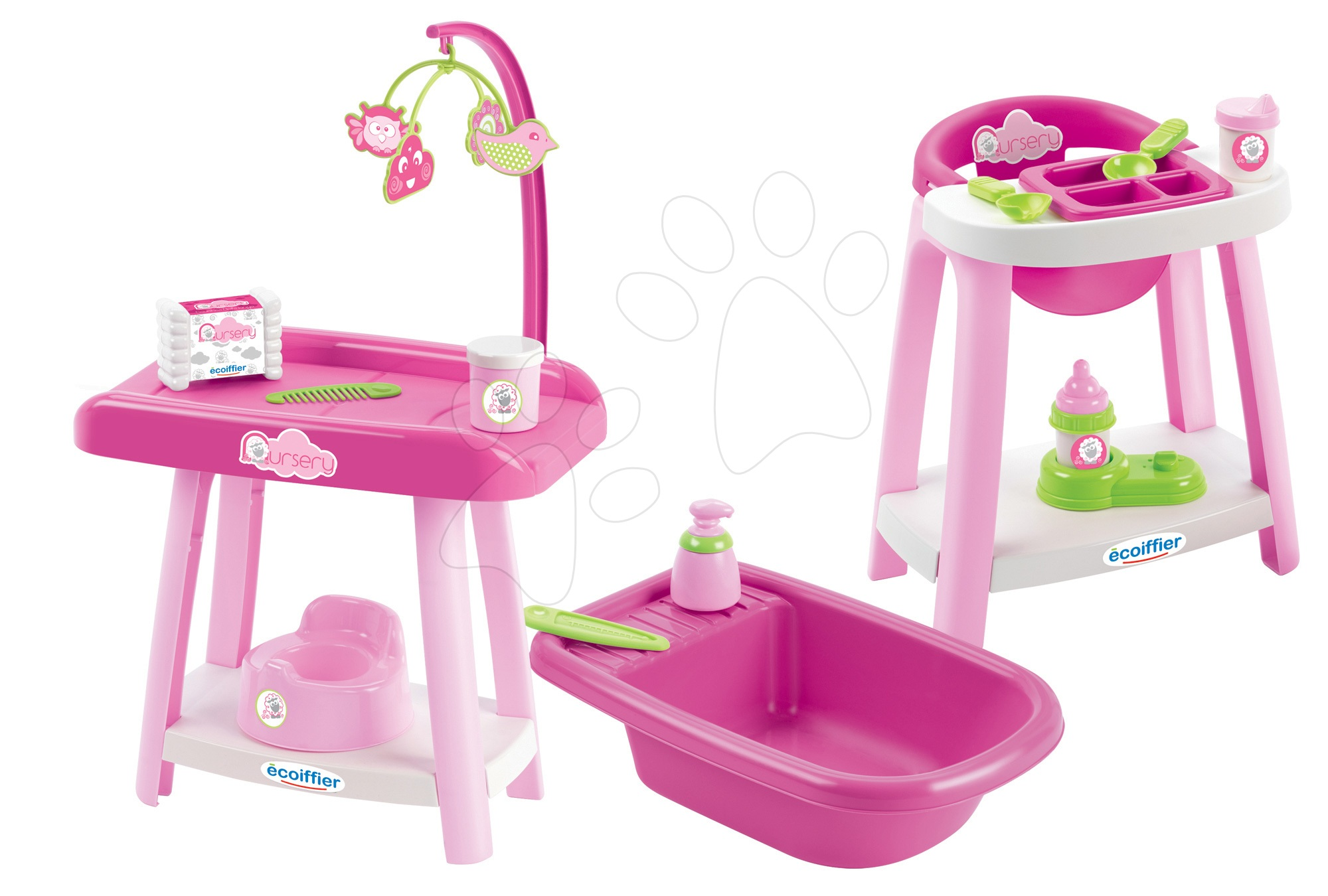 Domečky pro panenky - Přebalovací pult se židlí a vaničkou Nursery 3v1 Écoiffier 15 doplňků růžový od 12 měsíců