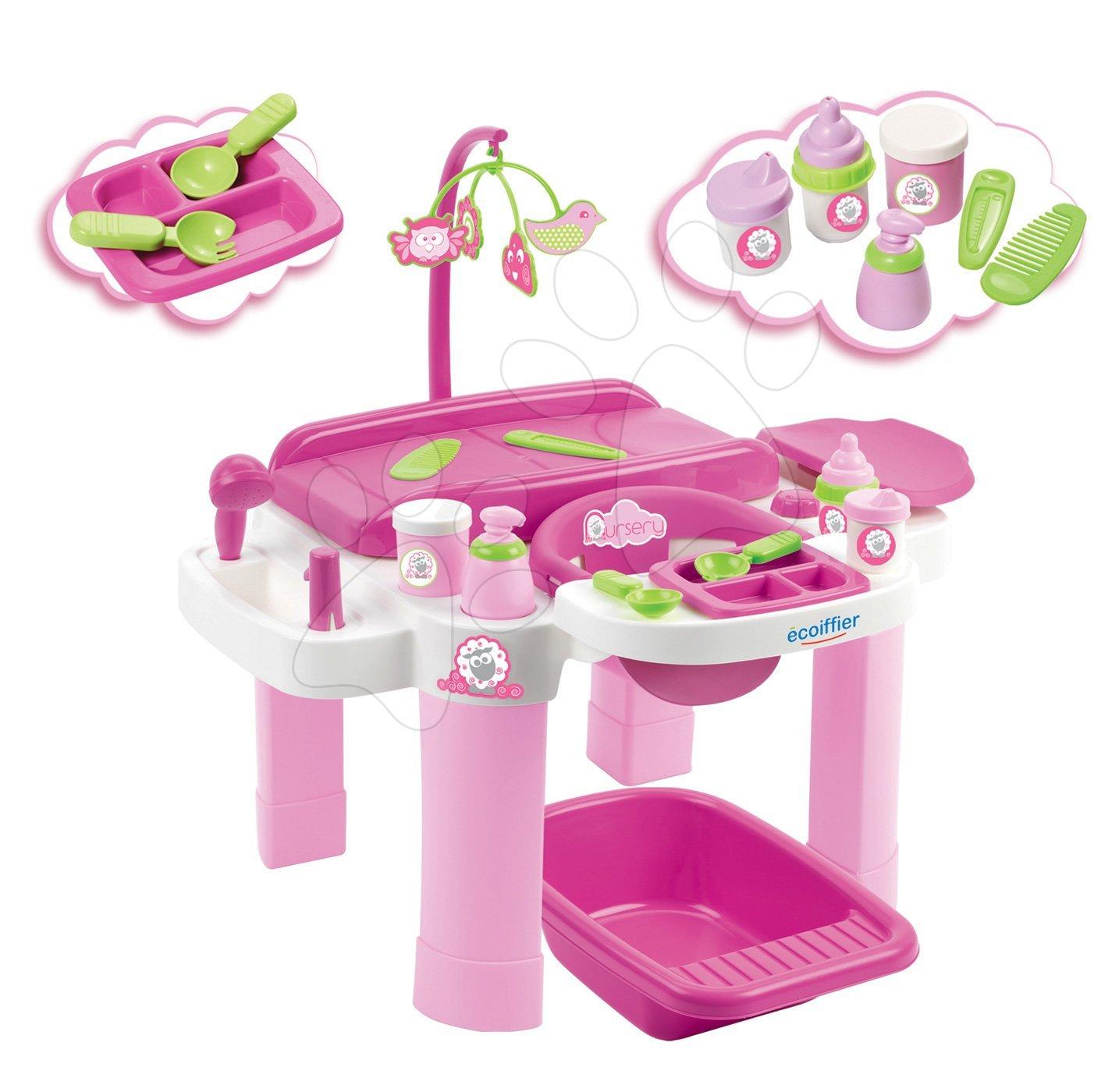 Prebaľovací stôl pre bábiky Nursery Écoiffier s kúpeľňou a jedálenským kútikom od 1 - 5 rokov