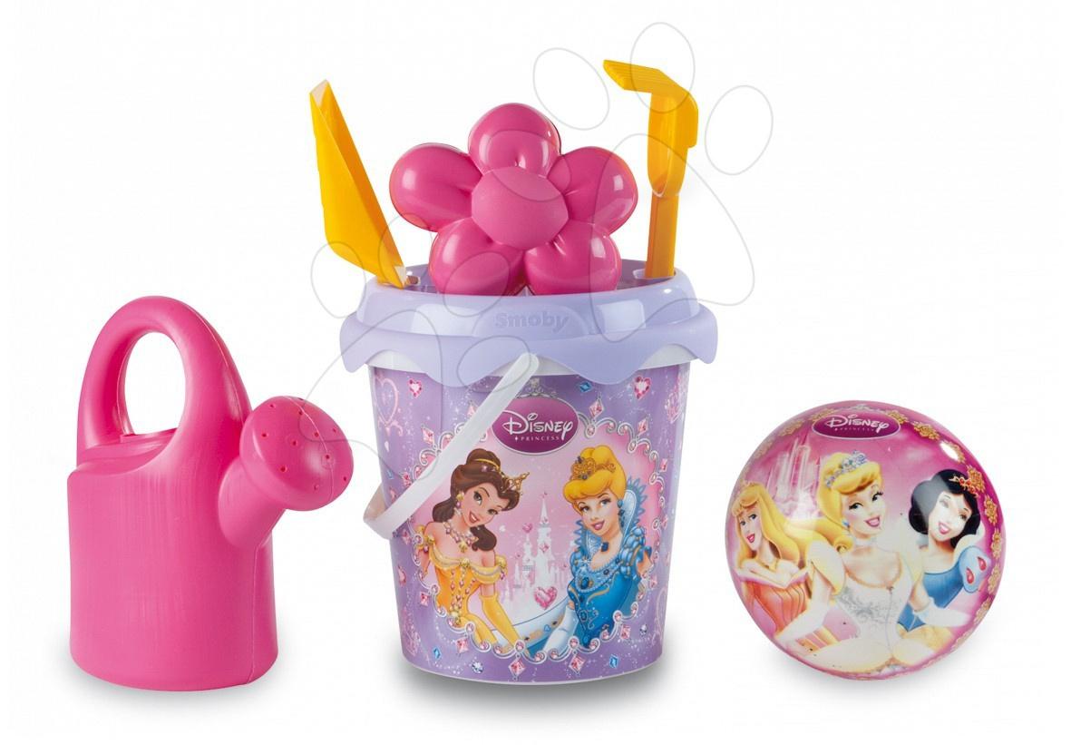 Kbelíky do písku - Kbelík set s konví Princess Smoby a míčem v batohu