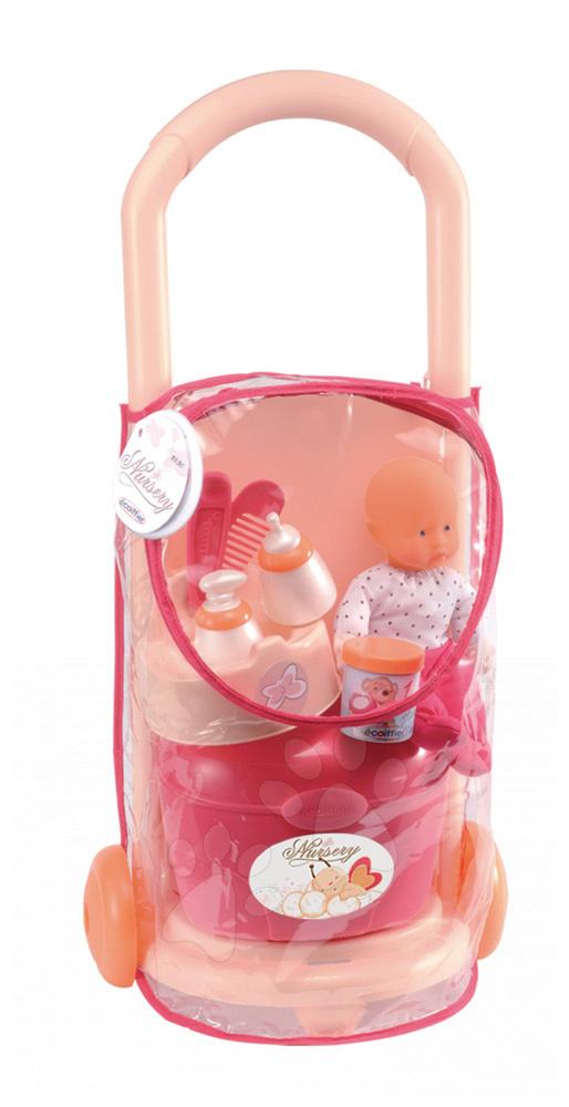 Vozík s panenkou Nursery Écoiffier na kolečkách s doplňky