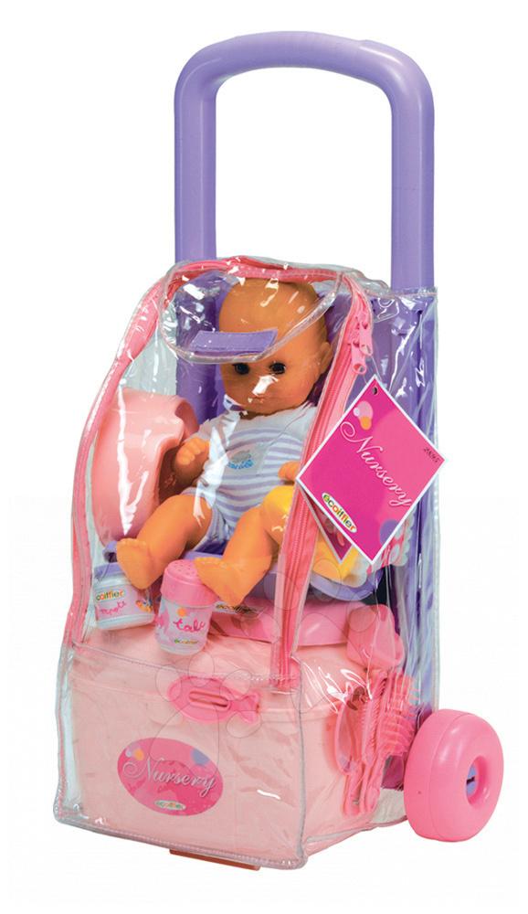 Vozík s panenkou a doplňky Écoiffier růžovo-fialový od 18 měsíců