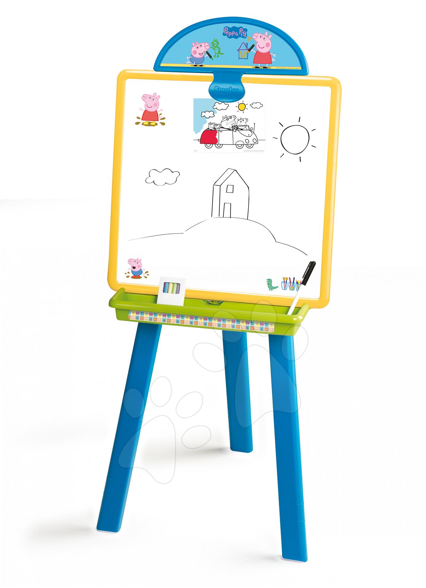 Staré položky - Peppa Pig obojstranná tabuľa 2 v 1 magnetická Smoby na kriedu na stojane a závesná 102 cm vysoká s 18 doplnkami
