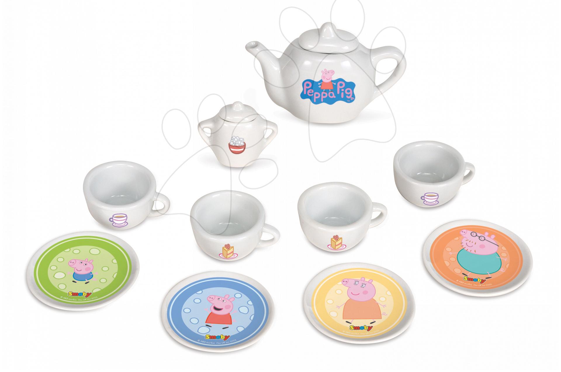 Riadíky a doplnky kuchynky - Peppa Pig porcelánový čajový set Smoby 12 kusový