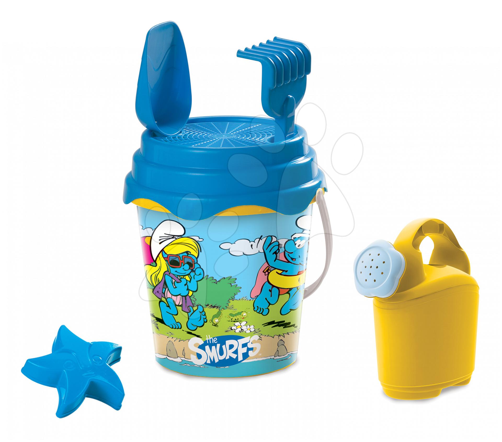 Šmoulové set do písku Mondo kbelík, konvička, sítko, lopatka, hrabičky a dvě bábovičky