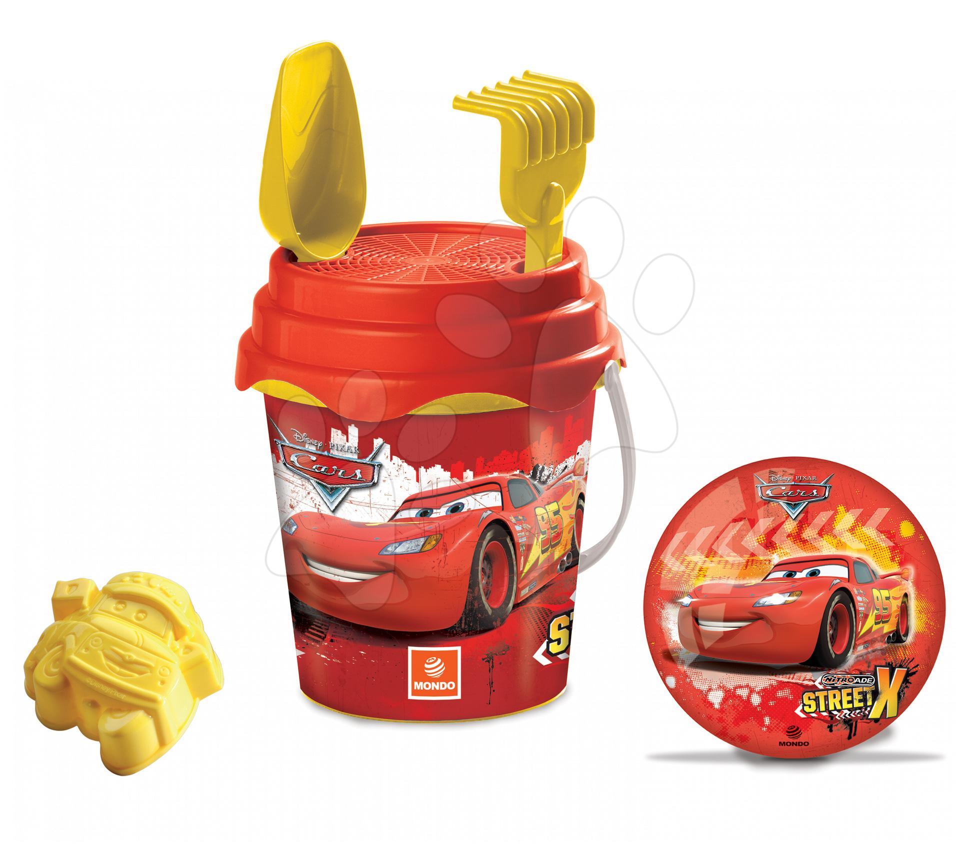 Kbelík set s míčem Cars Mondo 5 dílů (výška kbelíku 17 cm) červeno-žlutý