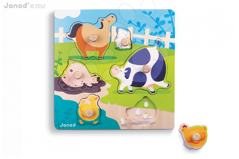 Dřevěné puzzle pro nejmenší Happy Farm Janod 6 dílů od 18 měsíců