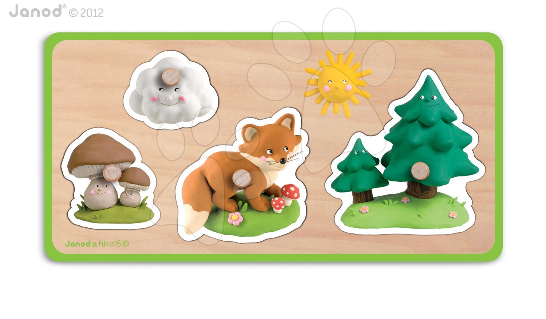 Dřevěné puzzle pro nejmenší Quadriforest Fleurus Janod 4 díly od 12 měsíců