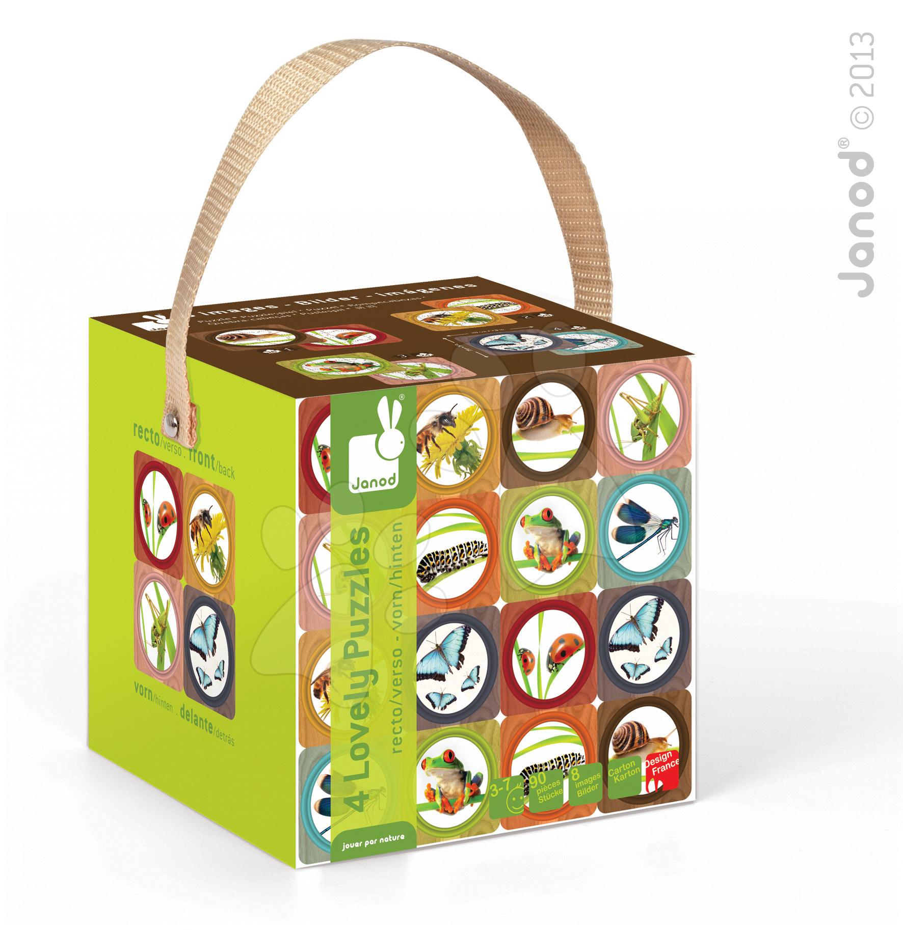 Detské puzzle do 100 dielov - Obojstranné puzzle Záhrada Janod v kufríku 16-20-24-30 dielov od 3 - 7 rokov