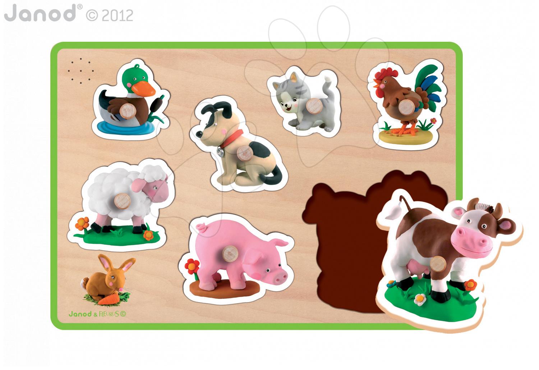 Puzzle pre najmenších - Drevené puzzle pre najmenších Farm Fleurus Janod hudobné od 18 mes