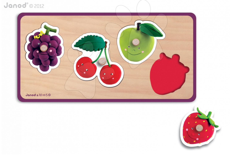 Puzzle pre najmenších - Drevené puzzle pre najmenších Quadrifruits Fleurus Janod 4 diely od 12 mes