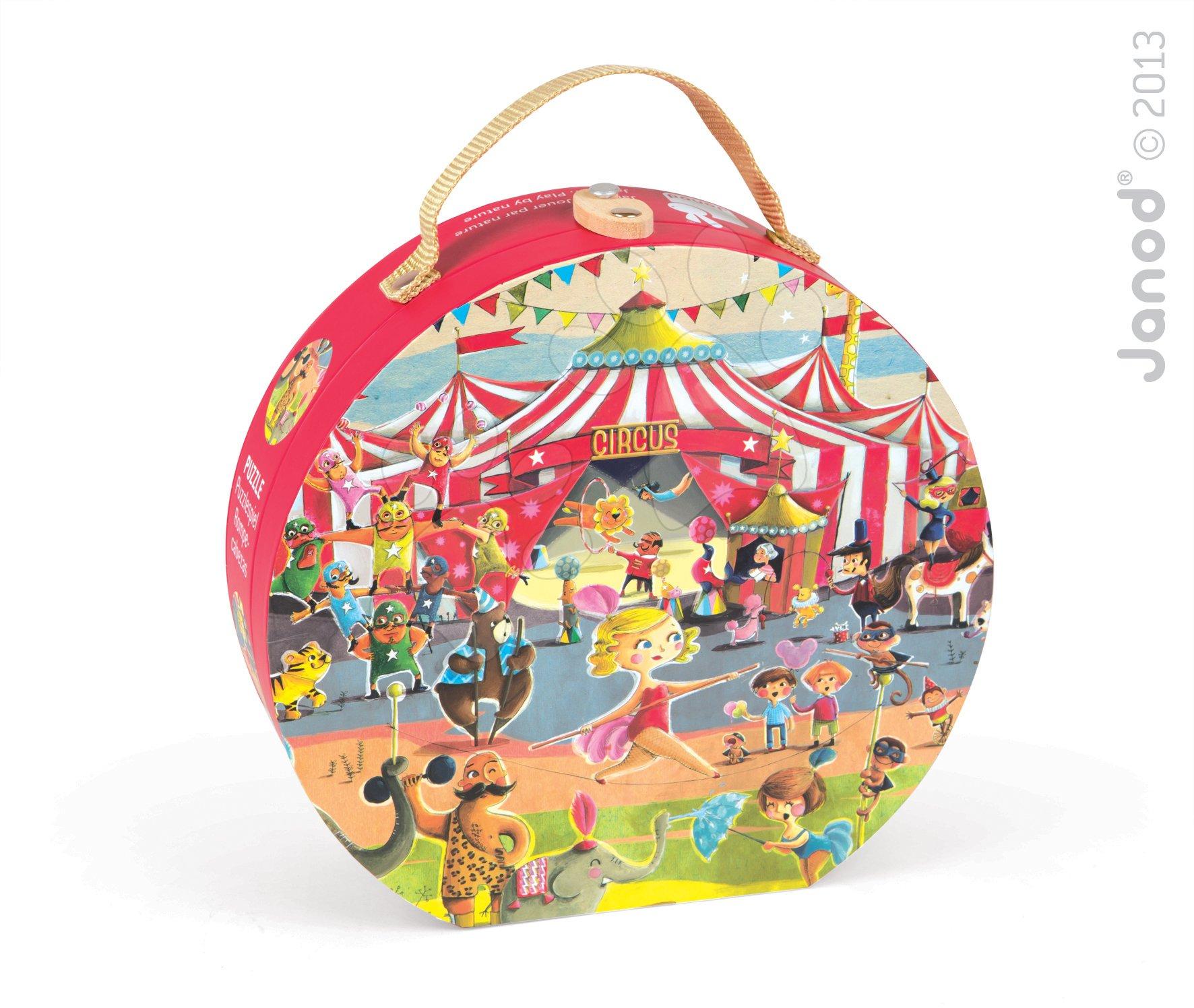 Dětské puzzle Cirkus Janod v kulatém kufříku 54 dílů od 5 - 8 let
