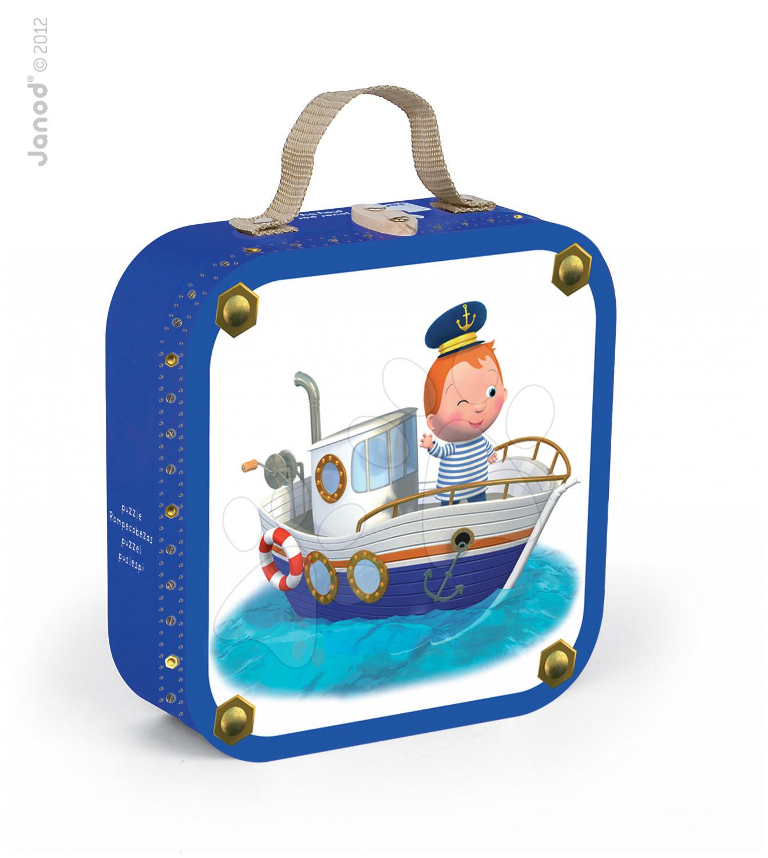 Detské puzzle do 100 dielov - Puzzle Leova loď Janod v kufríku 6-9-12-16 dielov od 3 - 6 rokov